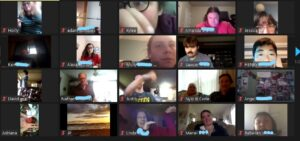 A screen shot of a Zoom get together of people enjoying DJ Lamar playing the song Thriller