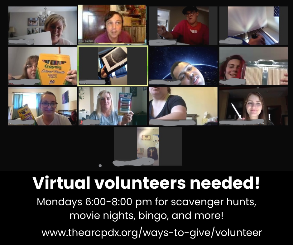 A screenshot of people in a Zoom room holding up various items as a part of a virtual scavenger hunt.
